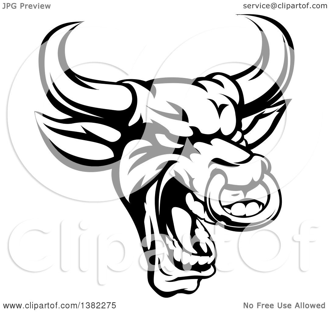 1080x1024 Clipart Of A Black And White Roaring Bull Mascot Head With A Nose