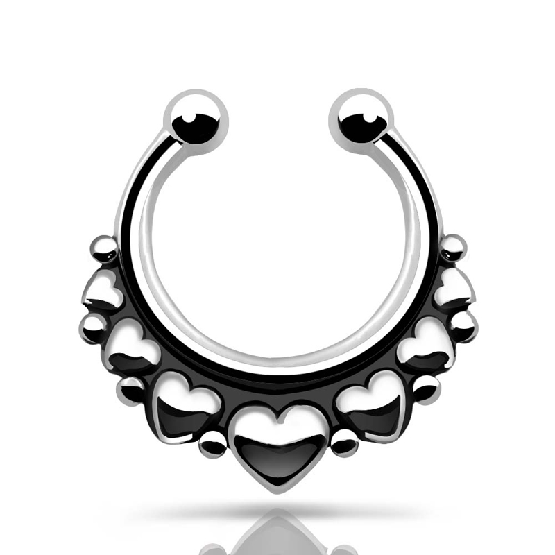 800x800 1 Pcs Vintage Heart Fake Nose Ring Women Men Nose Piercing 1.6mm