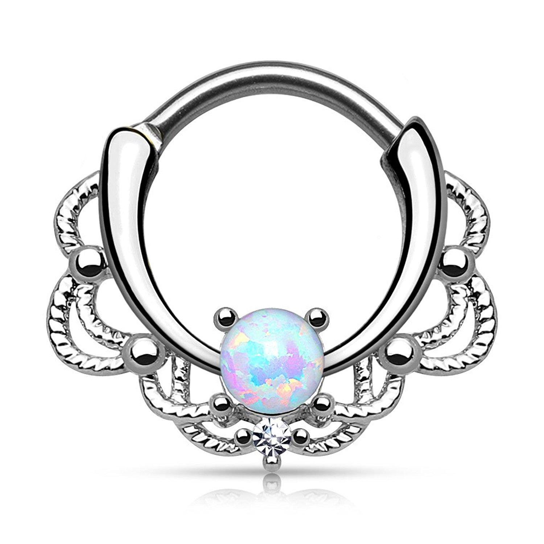 1500x1500 Gekko Body Jewellery Lacey Single Light Purple Opal Septum Clicker