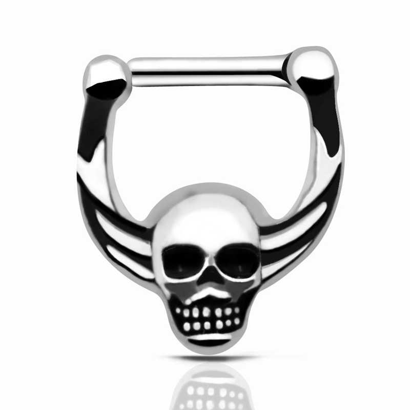 800x800 Septum Clicker Nose Piercings Jewelry 316l Hinged Skull Nose Ring
