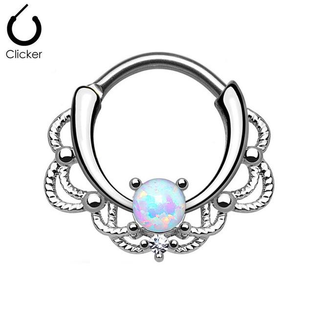 640x640 1pc Opal Nose Ring Hoop Clicker Septum Cartilage Earring Lip