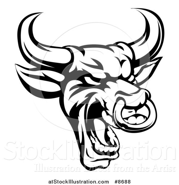 600x620 Vector Illustration of a Black and White Roaring Bull Mascot Head