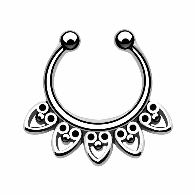 800x800 1pcs Vintage Heart Tribal Fan CZ Fake Cheater Clip On Nose Ring