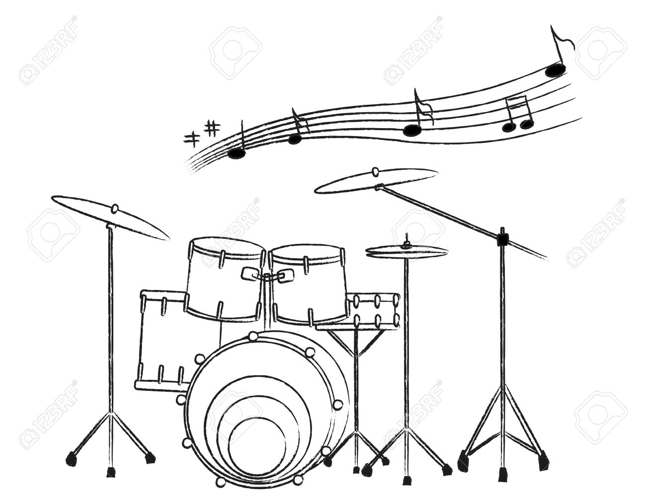 1300x1015 Drawing Of A Drum Set The Drum Set Drawing On The White Background