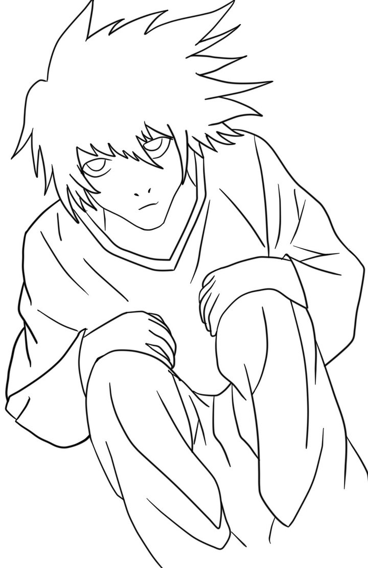720x1110 L (Death Note) Line Art By Sk3tch 4rtist