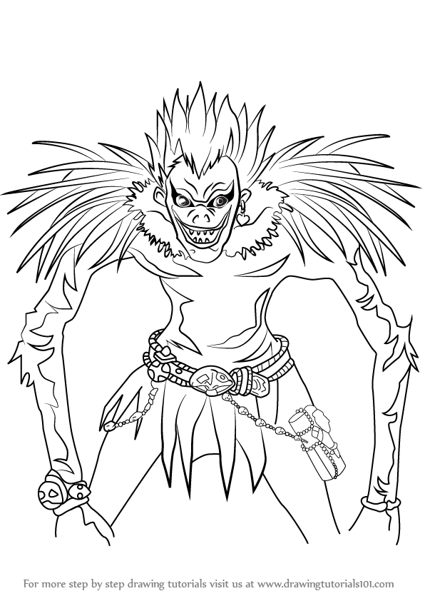 596x842 Learn How To Draw Ryuk From Death Note (Death Note) Step By Step