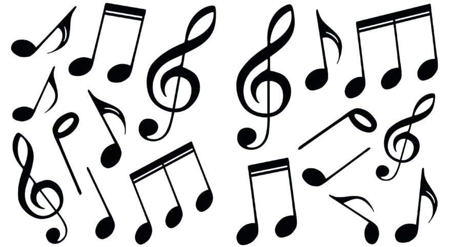878x483 Music Notes Coloring Page