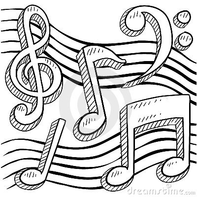 400x400 Sketches.of music notes Music Notes Sketch Stock Photography