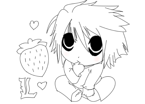 470x338 Death Note By Lineartartist (Chibi Drawing)