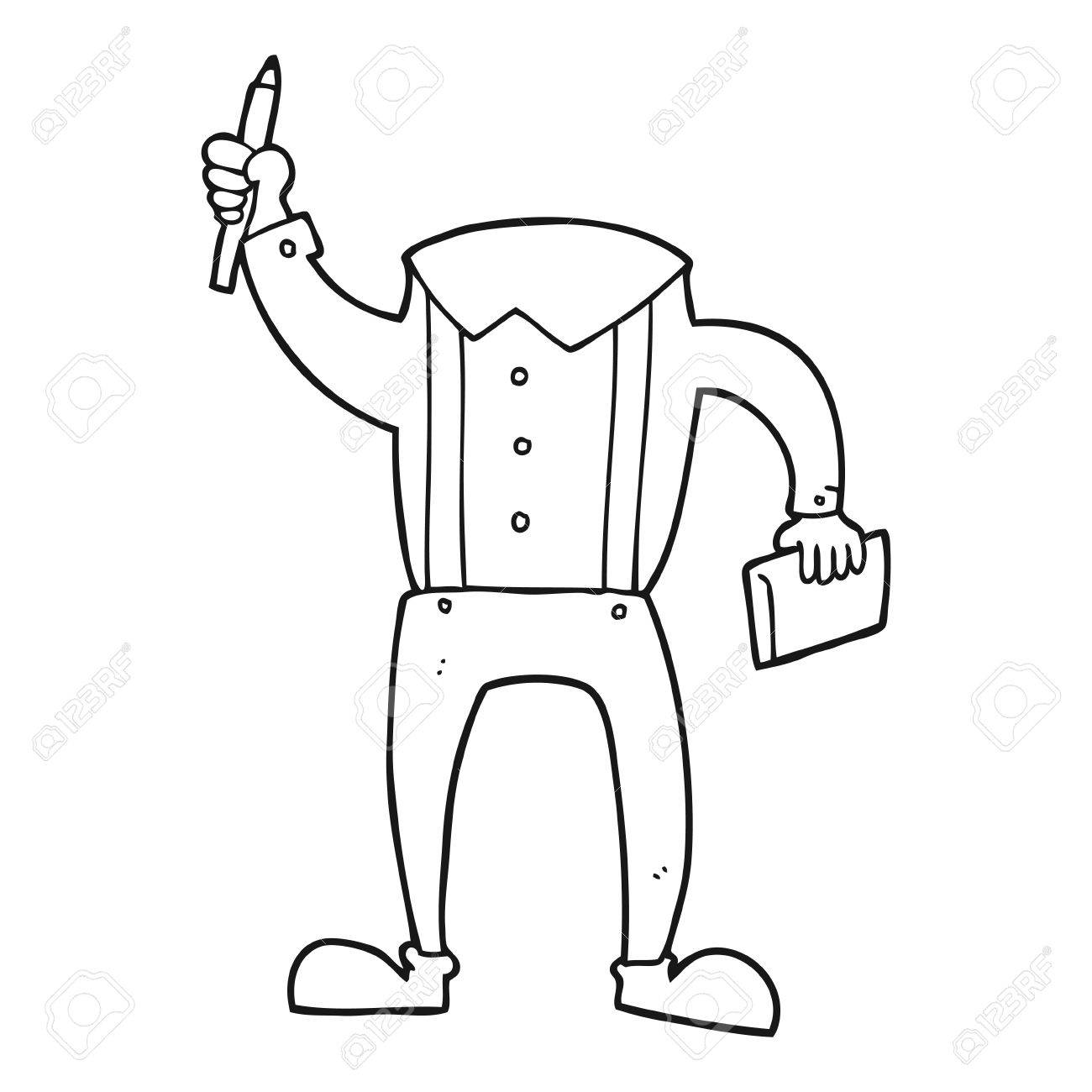 1300x1300 Freehand Drawn Black And White Cartoon Headless Body With Notepad