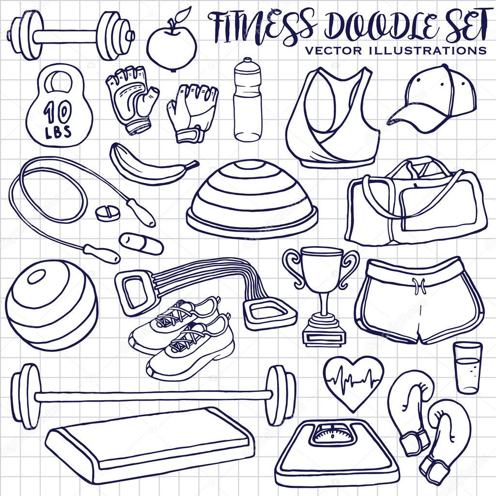 1024x1024 Hand Drawn Fitness Doodle Set. Sqared Notepad Page Stock Vector