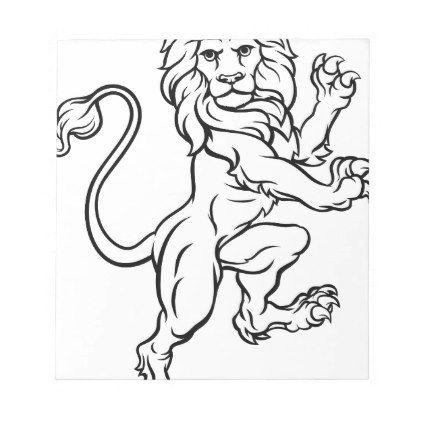 422x422 Lion Rampant Heraldic Crest Coat Of Arms Notepad
