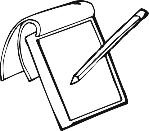 480x421 Notepad And Pencil Coloring Page Free Printable Coloring Pages