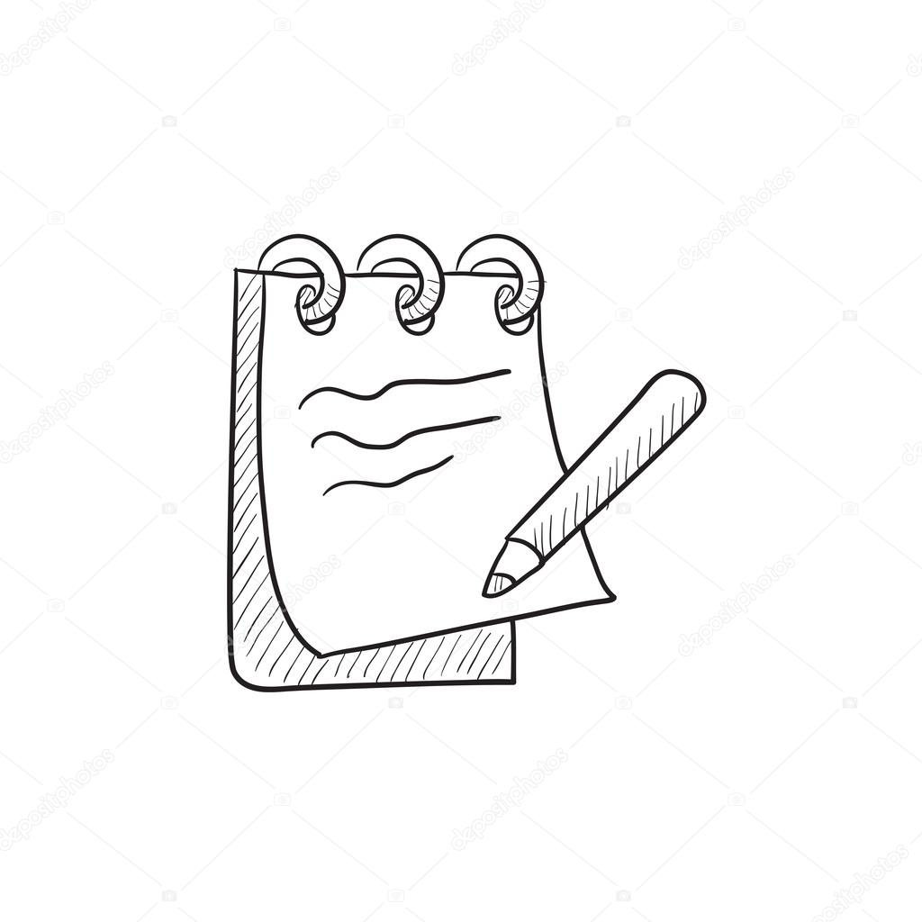1024x1024 Notepad With Pencil Sketch Icon. Stock Vector Rastudio