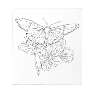 324x324 Black And White Flower Drawing Notepads Zazzle