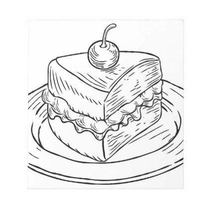 422x422 Cake Slice Vintage Retro Woodcut Style Notepad Retro, Cake