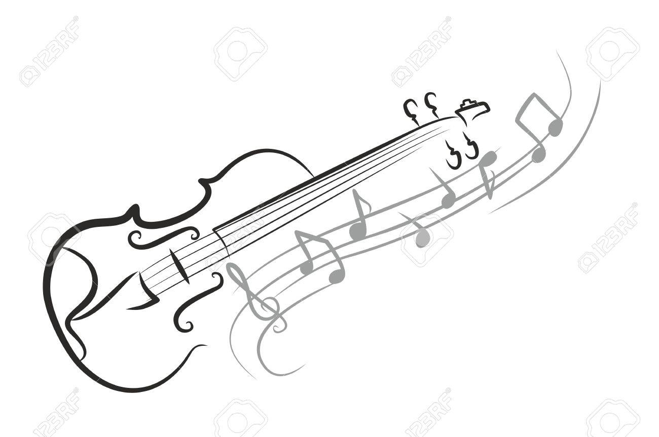 1300x863 A Violin Sketch With Notes. Royalty Free Cliparts, Vectors, And