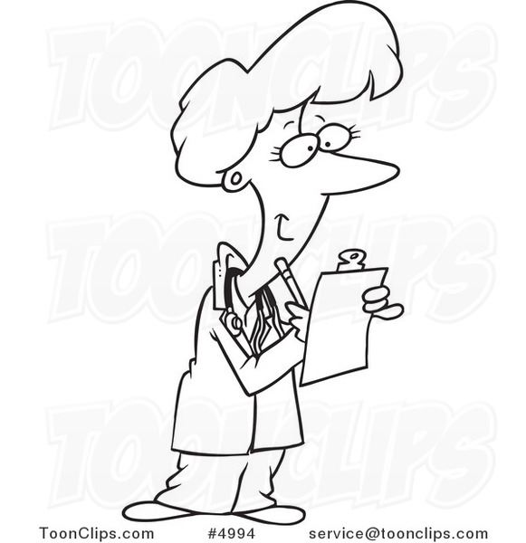581x600 Cartoon Black and White Line Drawing of a Female Doctor Taking