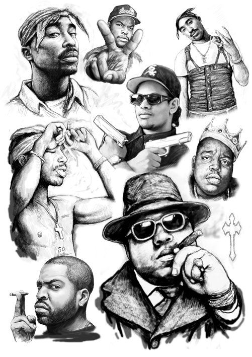 501x709 2pac Eazye Biggie Smalls Ice Cube Rap Star Group By Visualharbour