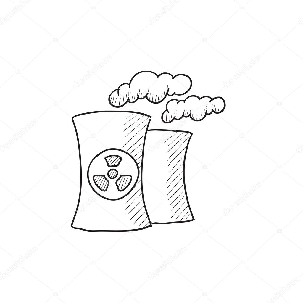 Nuclear Power Plant Drawing At Free For Personal Diesel Layout And Working 1024x1024 Sketch Icon Stock Vector Rastudio