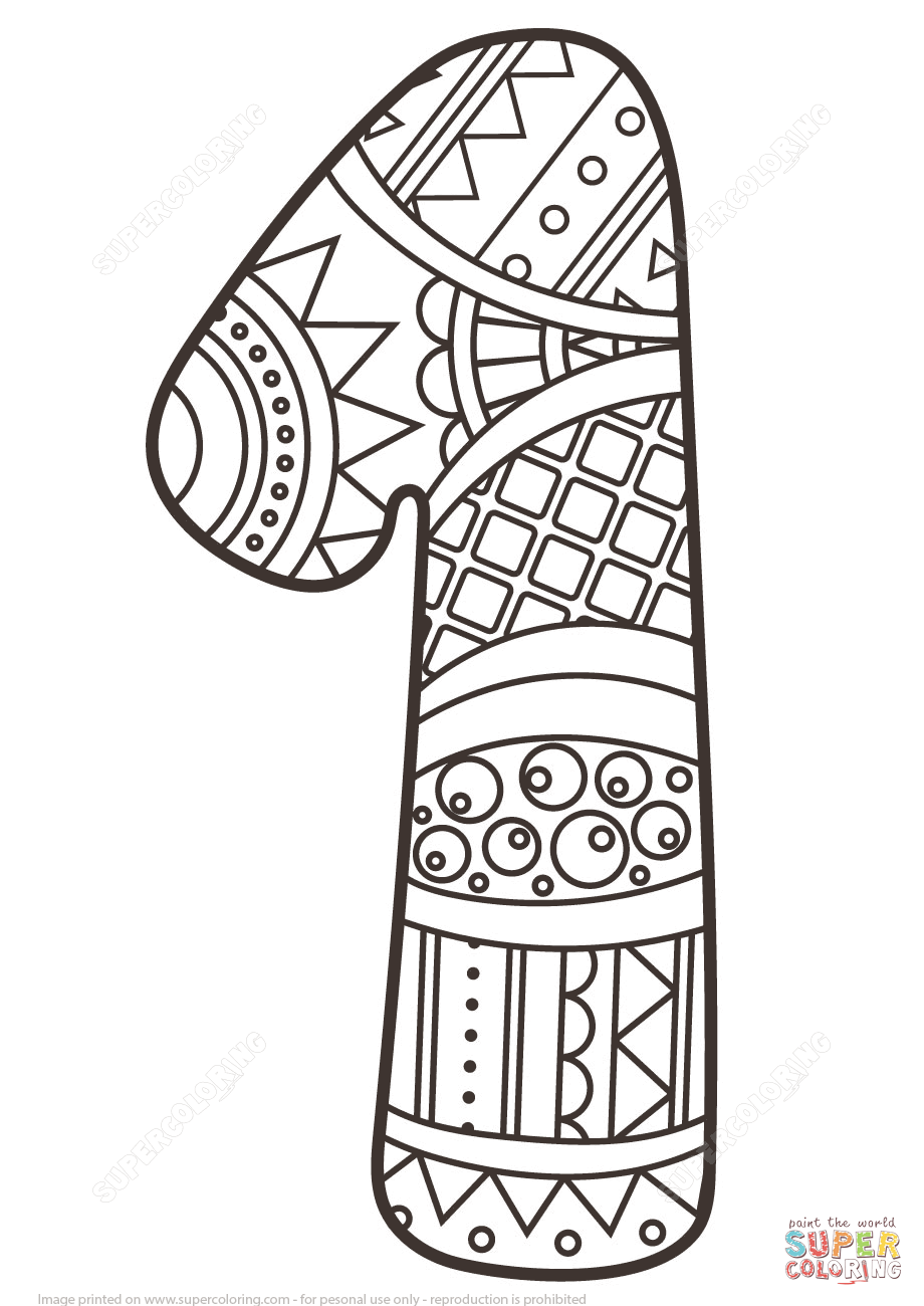 920x1300 Number 1 Zentangle Coloring Page From Numbers Category