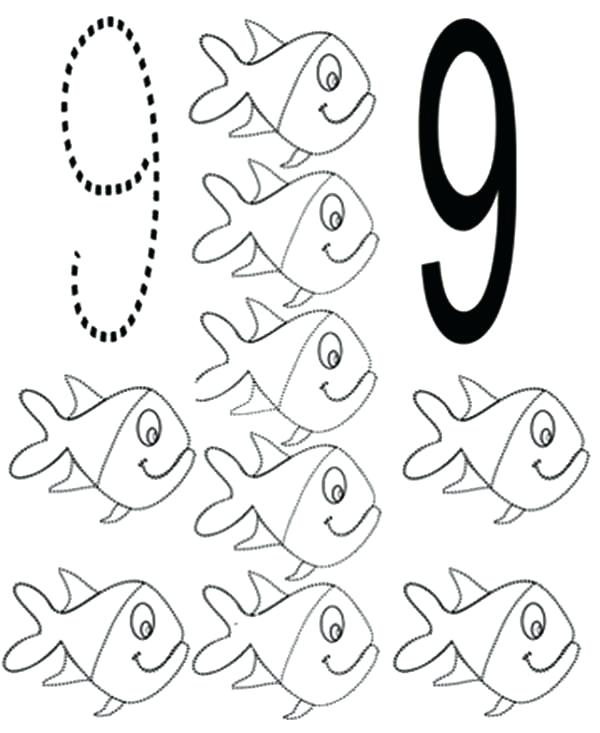 600x733 Number 9 Coloring Page Number 9 Coloring Page Number 9 Coloring