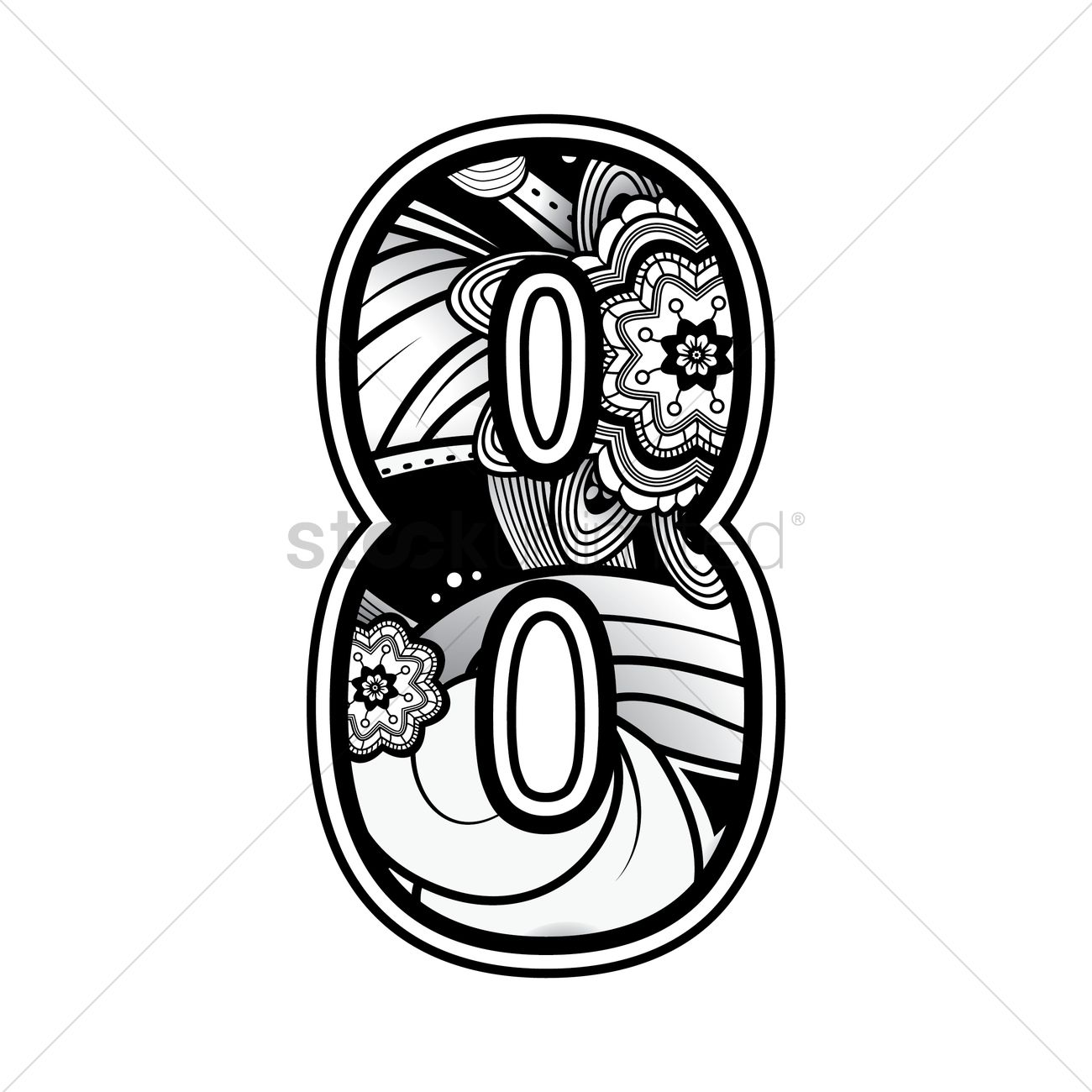 1300x1300 Free Decorative Number 8 Vector Image