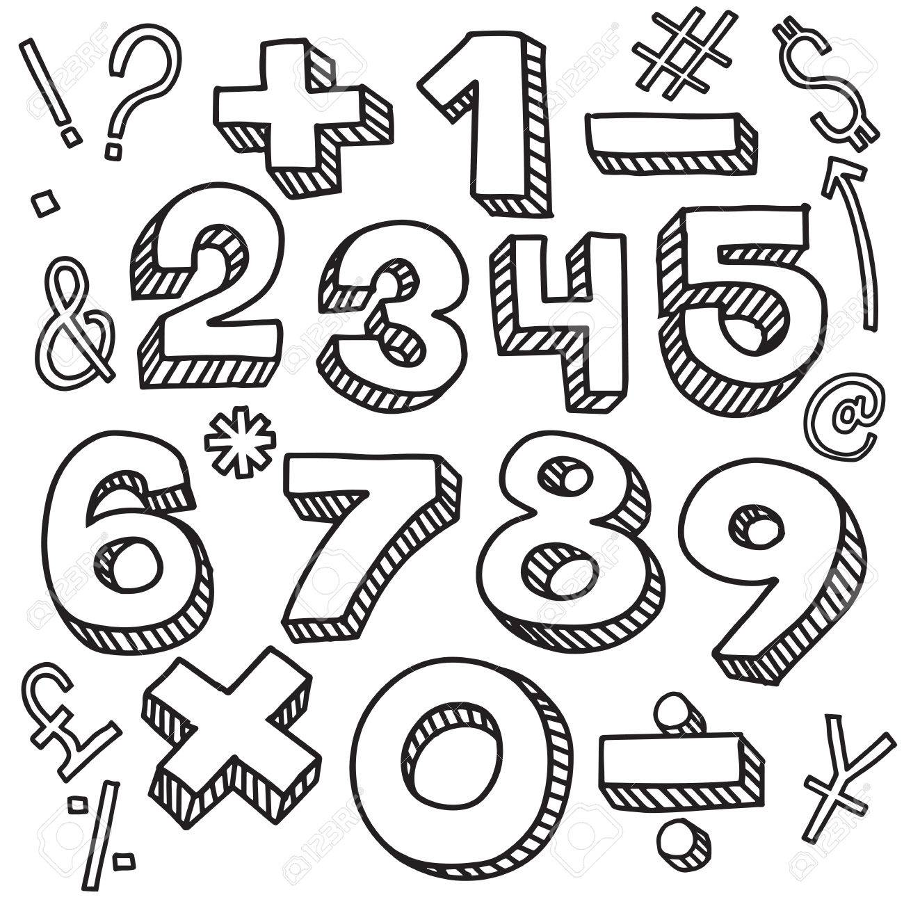 1300x1300 Numbers Sketch Style, Vector Illustration Retro Style, Lettering