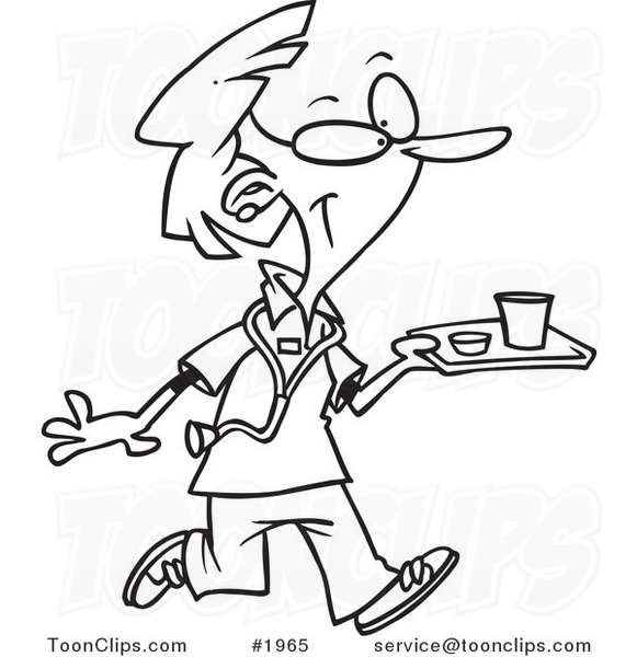 581x600 Cartoon Black And White Line Drawing A Nurse Carrying A Tray