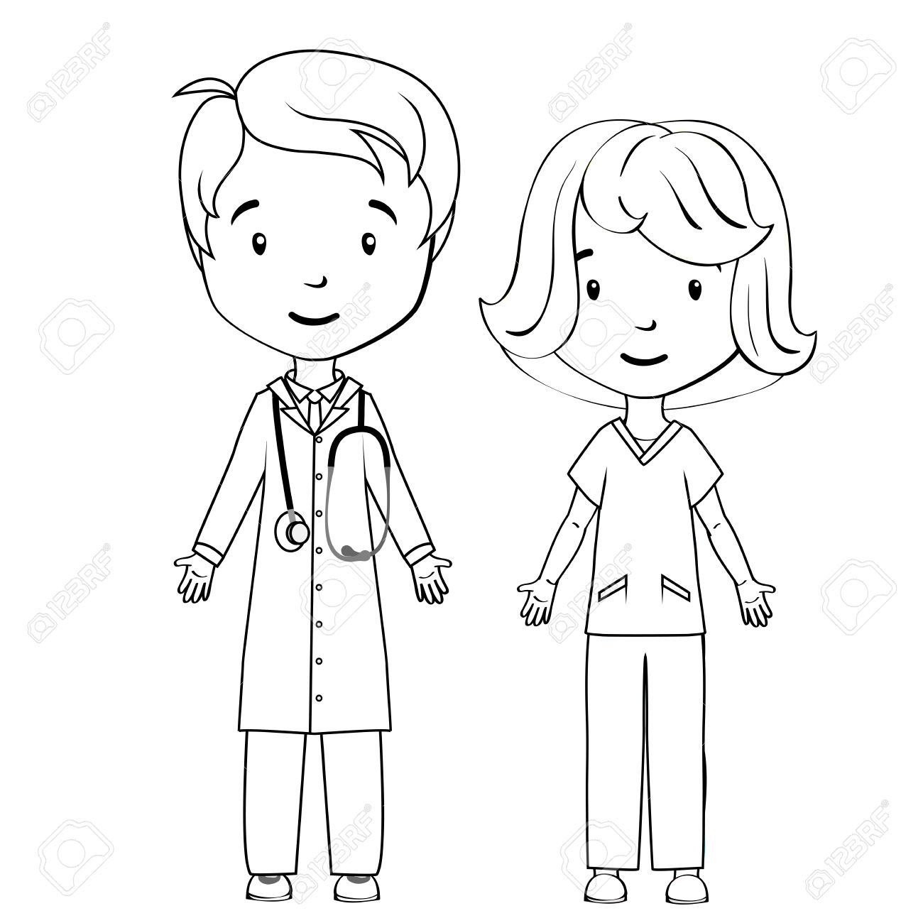 1300x1300 Coloring Book Cartoon Doctor And Nurse Royalty Free Cliparts