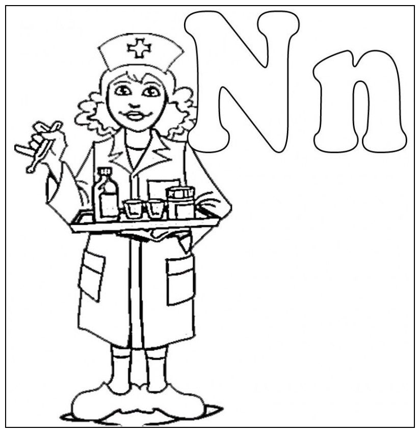 824x850 N Is For Nurse Coloring For Kids