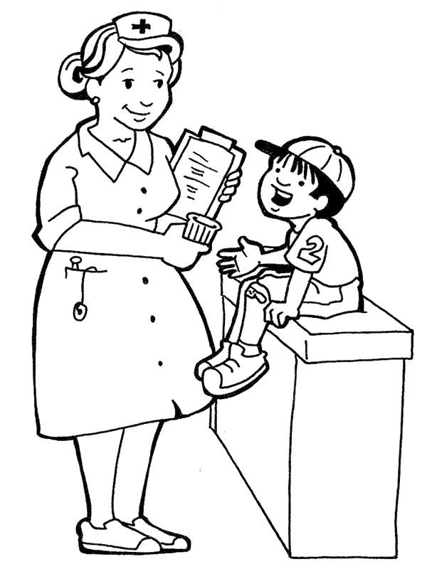 600x800 Nurse Coloring Page Pages For Kids Hospital Doctors Nurses Sabar