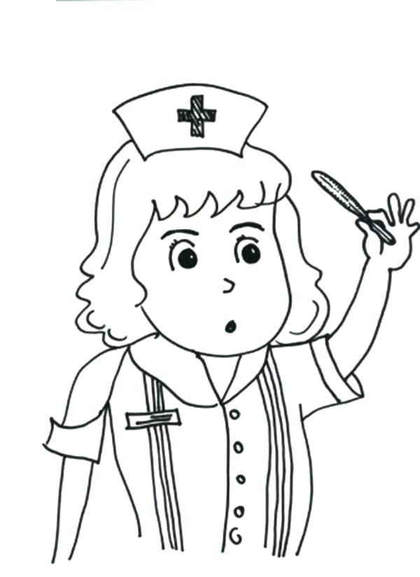 600x824 Awesome Thermometer Coloring Page Kids Pages Nurse Checking