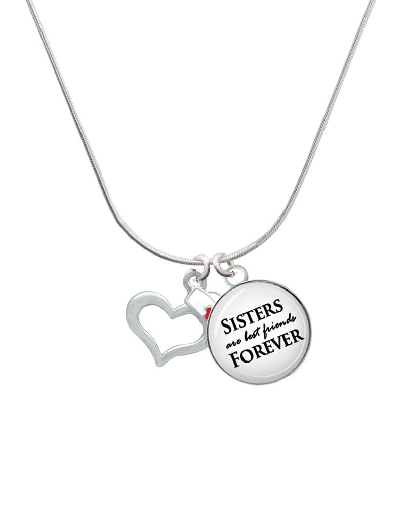 800x1000 Open Heart With Nurse Hat Sisters Are Best Friends Glass Dome Necklace
