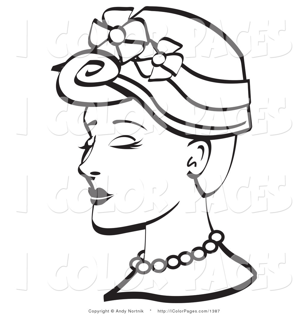 1024x1044 Vector Coloring Page Of A Vintage Woman In A Floral Hat Coloring