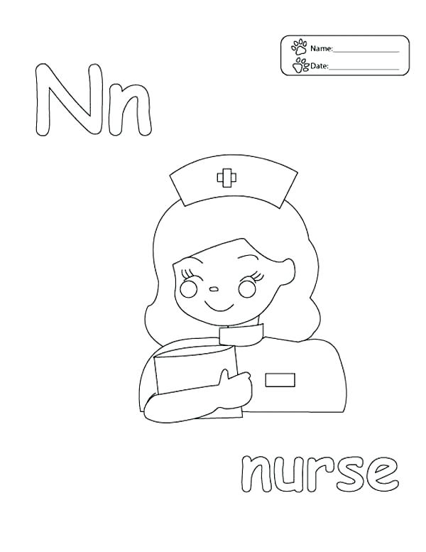 600x777 Nurse Coloring Page Nurse Coloring Pages Letter N Letter N Is