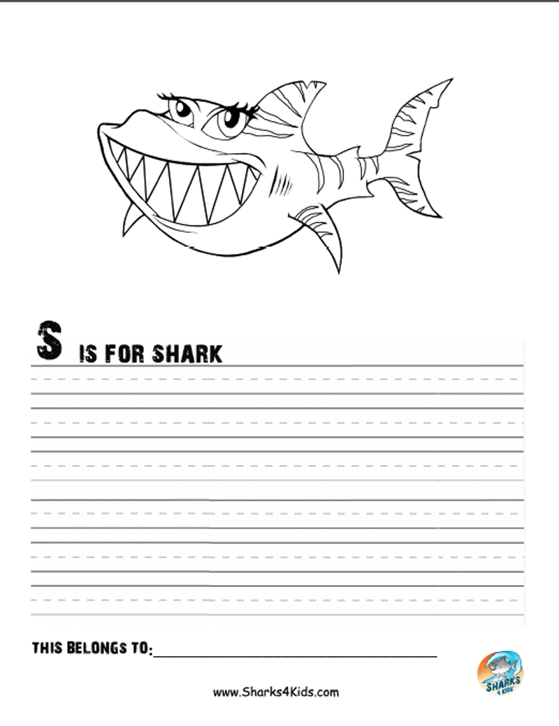 800x1038 S Is For Shark Tilly The Tiger Shark. A Fun Coloring Sheet