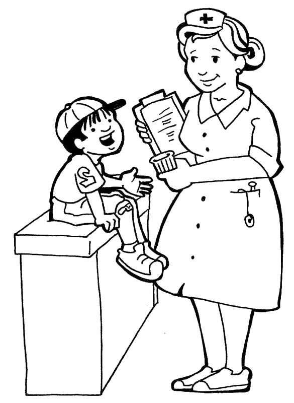 585x800 Nurses And Little Kids Coloring Pages Clinic