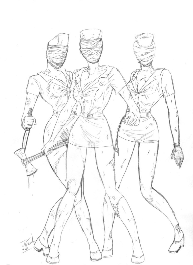 763x1048 Silent Hill Nurses Sketch By Destinyfall