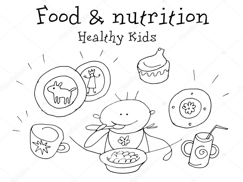 1023x767 Food And Nutrition. Kids Health.graphic Sketch In Vector. Stock