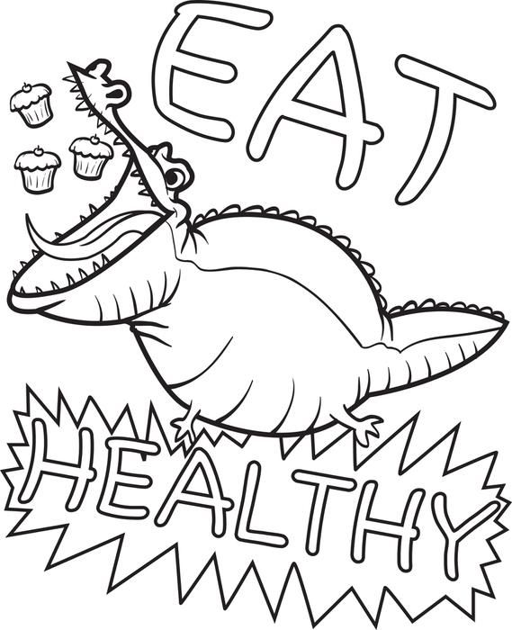 569x700 free printable eat healthy alligator coloring page for kids