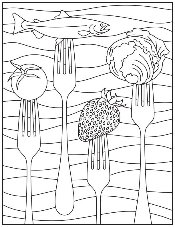 612x792 Printable Coloring Page For National Nutrition Month Food