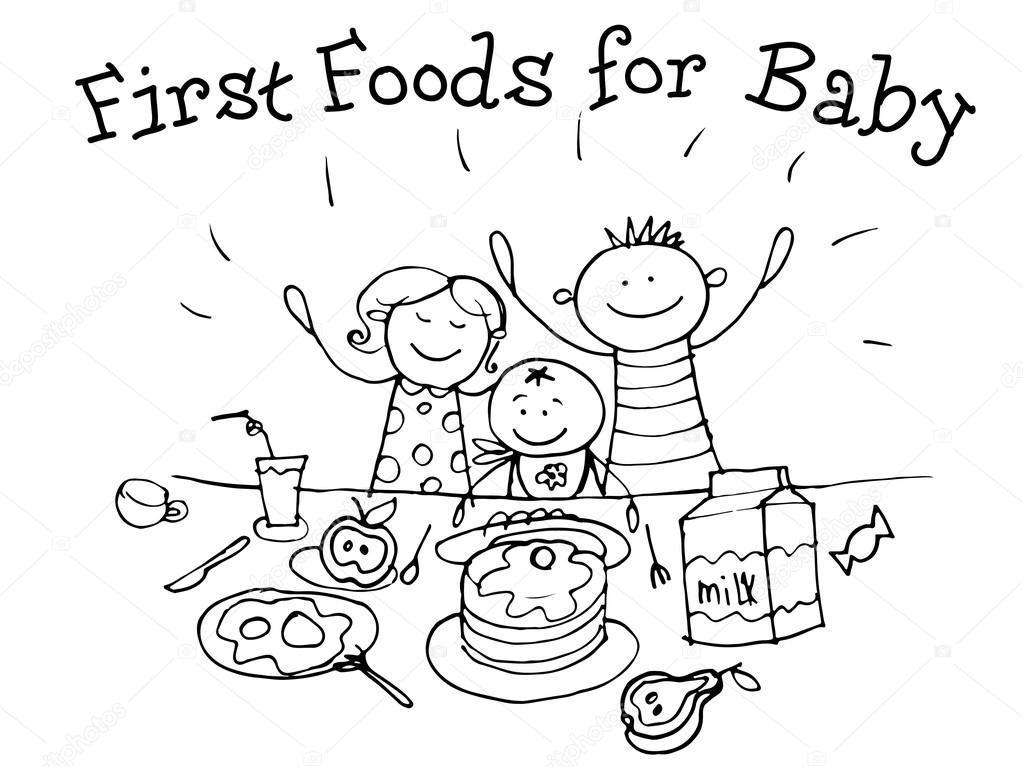 1023x767 First Food For Babies. Nutrition. Kids Health. Graphics Sketch