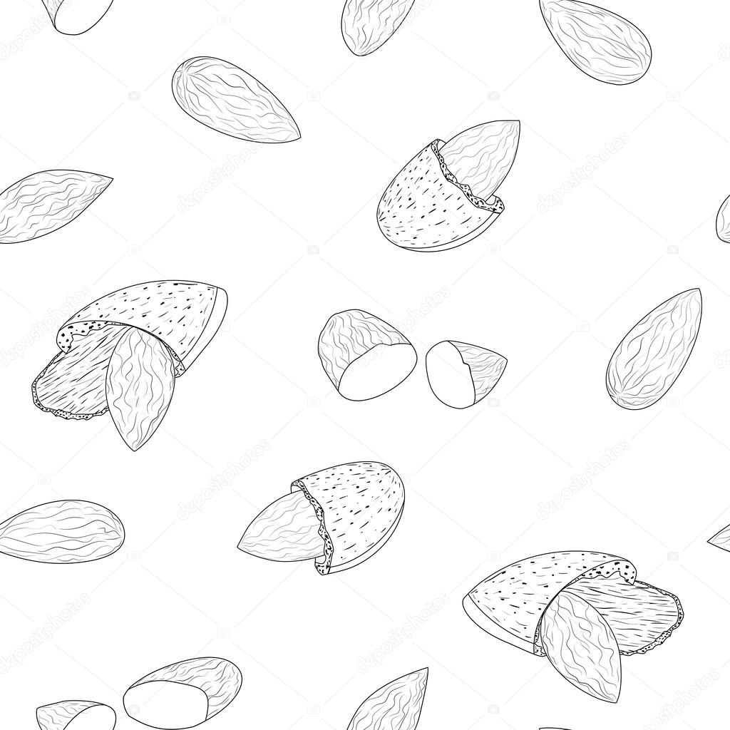 1024x1024 Seamless Vector Background Graphic. Almonds Seamless Pattern Hands