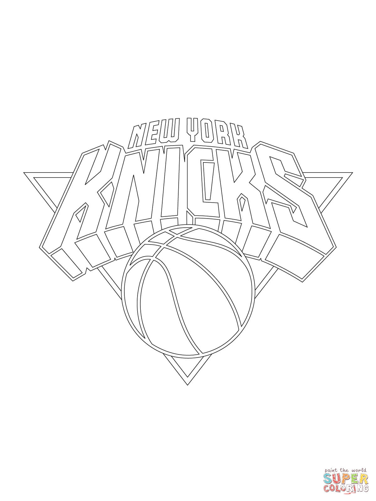 1200x1600 New York Knicks Logo Coloring Page Free Printable Coloring Pages