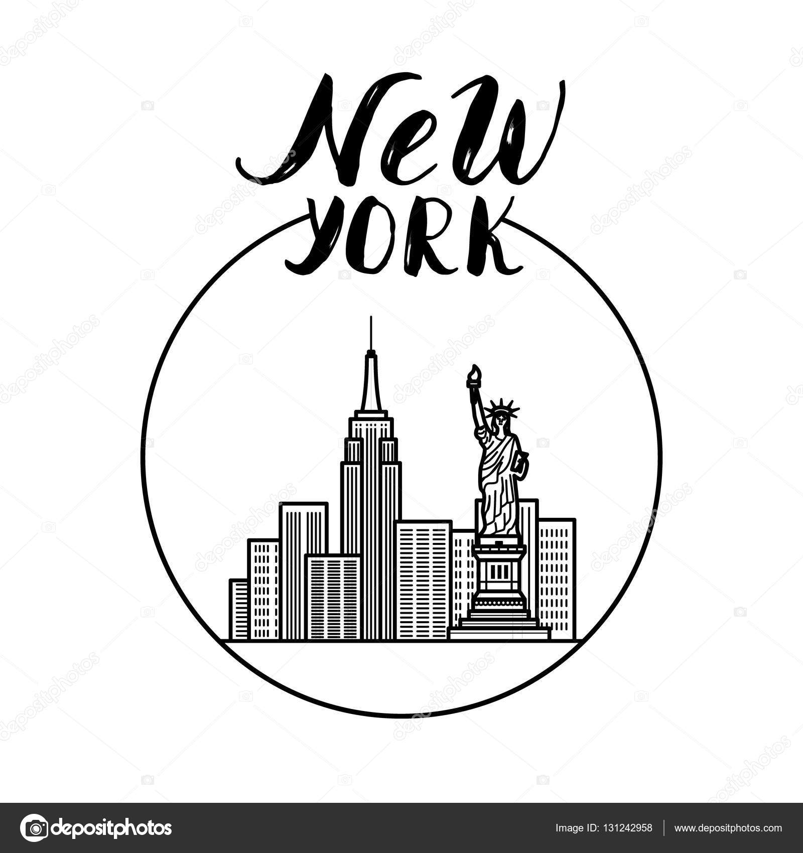 1600x1700 New York Illustration With Modern Calligraphy, City Buildings