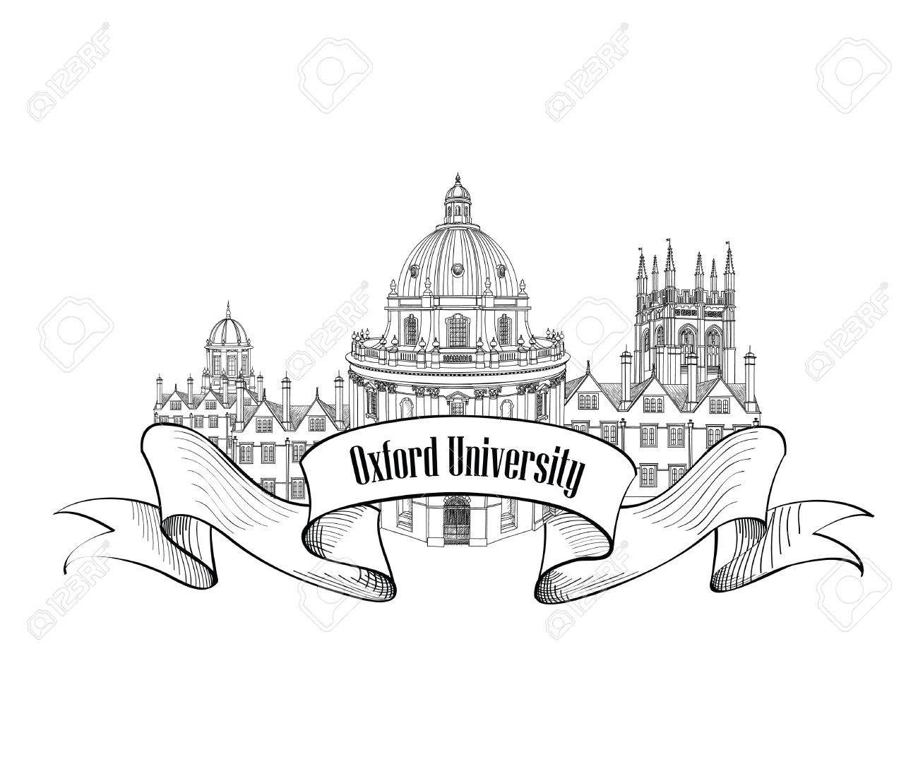 1300x1099 Oxford Univercity Label. Oxford City Skyline Engraved