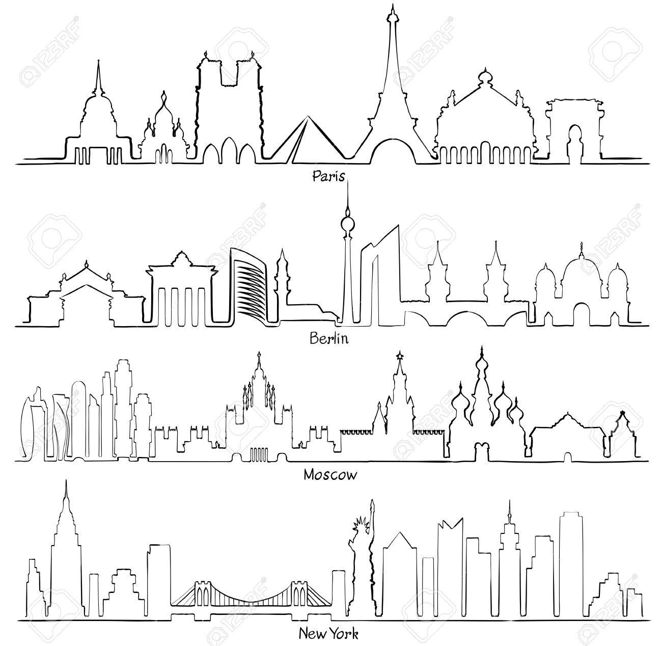 1300x1268 Set Of Vector Cities Silhouette (Paris, Berlin, Moscow And New