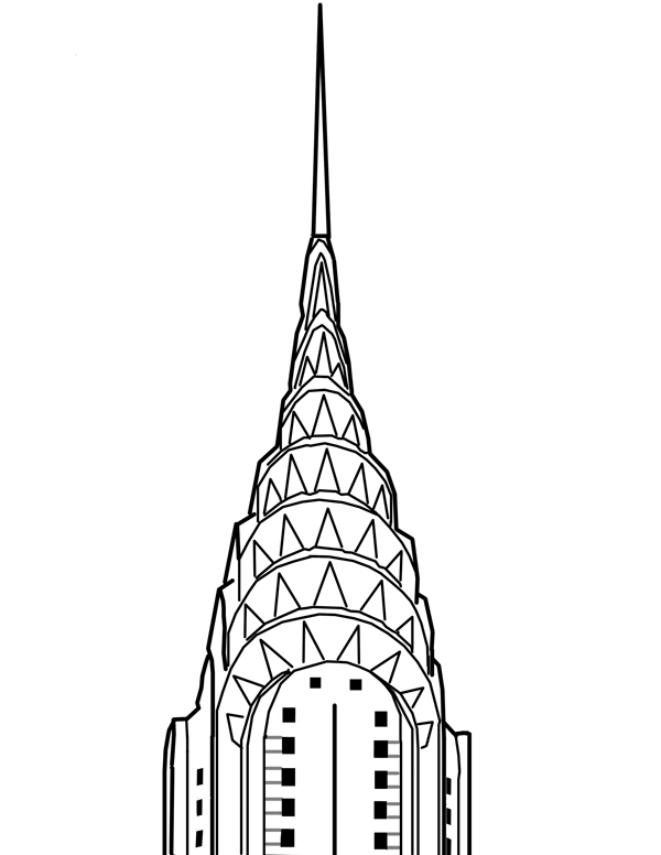 600x776 Chrysler Building Drawing