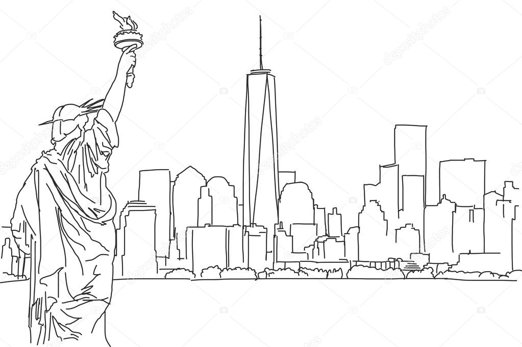 1023x681 Free Hand Sketch Of New York City Skyline. Vector Scribble Stock